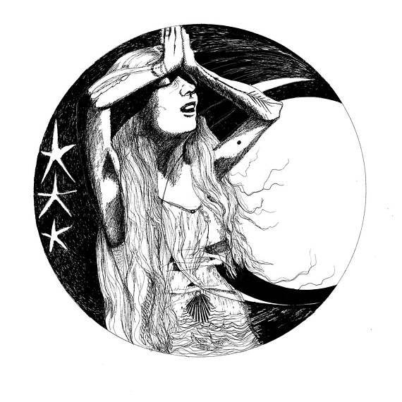 Val Guerrière De Lune Dessin Numérique Noir Et Blanc