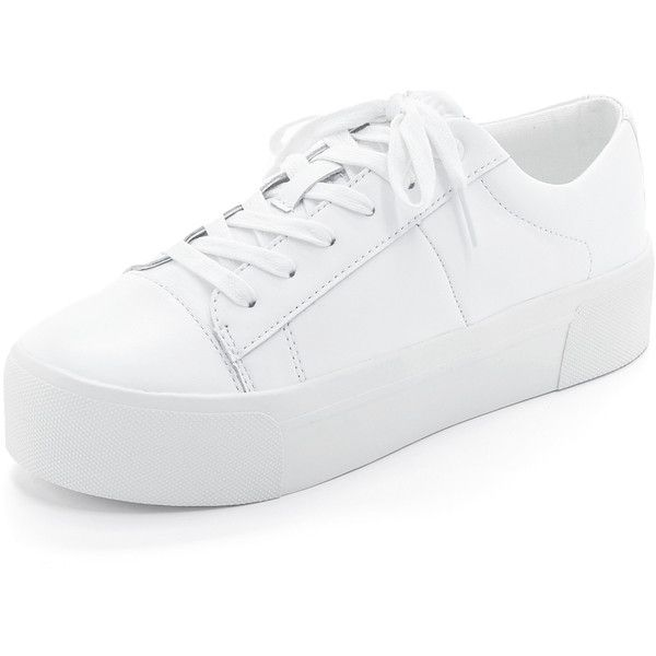 DKNY Bari Platform Sneakers (193,475 KRW) ❤ liked on Polyvore featuring shoes, sneakers, white, white trainers, lace up sneakers, high platform sneakers, platform shoes and white leather sneakers