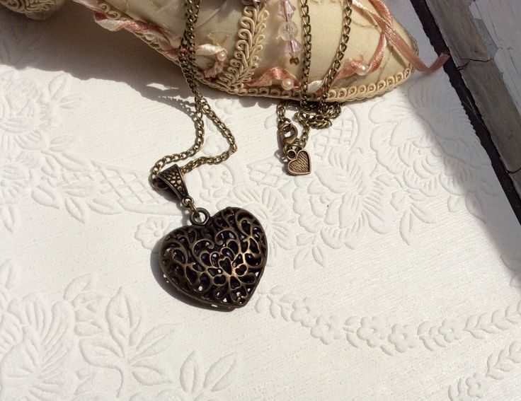 jewelry necklace antique bronze locket heart pendant engraved vintage Mom's birthday teen girls trendy teacher gift anniversary wedding by veronicarosedesigns on Etsy