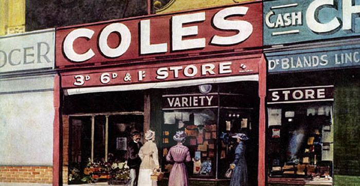 """In 1914 the Coles brothers opened a variety store in Melbourne, based on the slogan of """"Nothing over a shilling"""". Their formula and business acumen was so successful that by 1938 they had opened 86 stores across Australia. Much of the design work for these stores was done by the architect Harry Norris, very well known for his love of the emerging Art Deco style"""