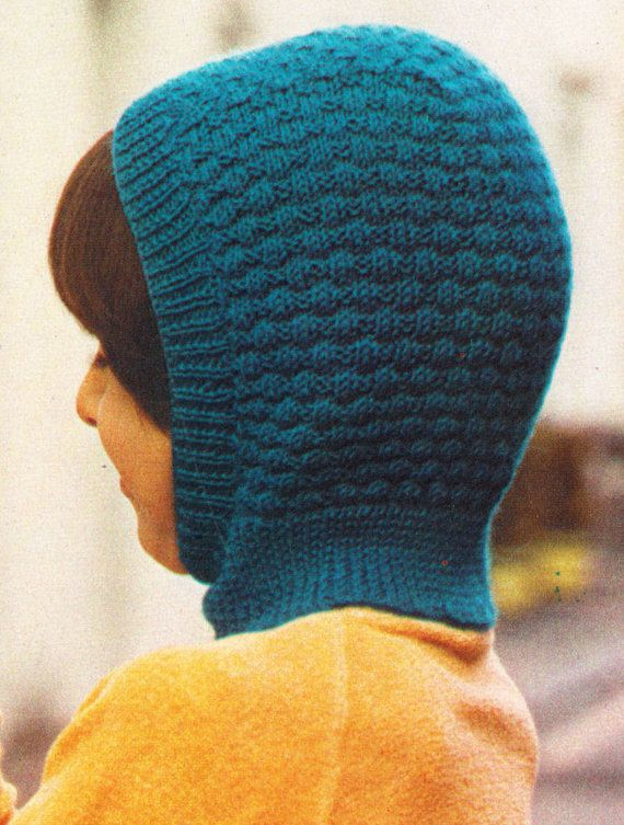 Instant Download PDF Vintage Seventies Quick Easy Knitting Pattern to make Childrens Winter Balaclavas Ski Hats Boys Girls 4 to 5 years old on Etsy, $3.50