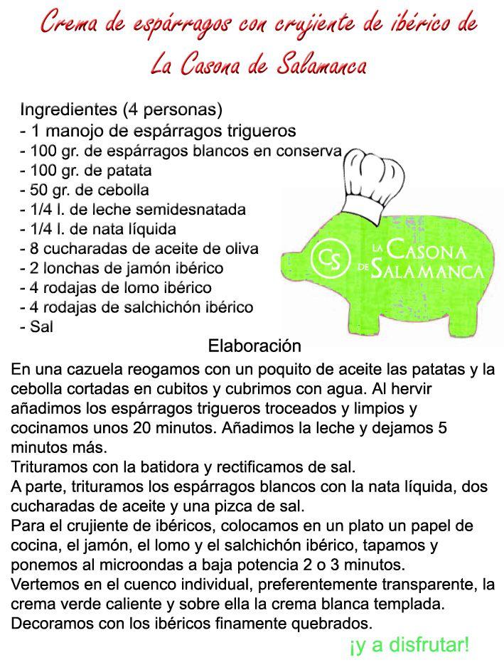Una crema de espárragos con crujiente de #jamón #ibérico de la Casona de Salamanca. http://www.jamonibericosalamanca.es/es/