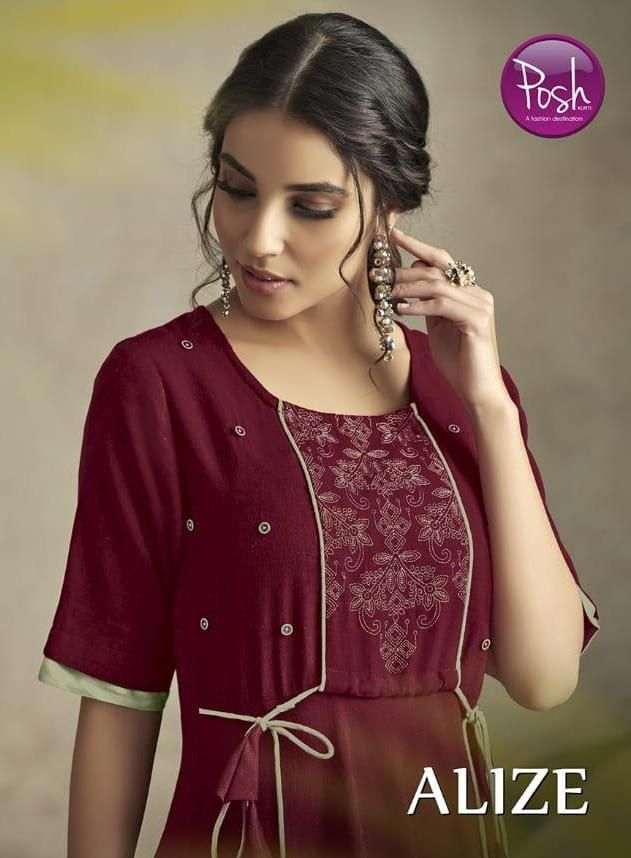 91a000c609 Posh Alize Designer Heavy Rayon with Embroidery Work Long Flair Readymade  Kurtis Collection