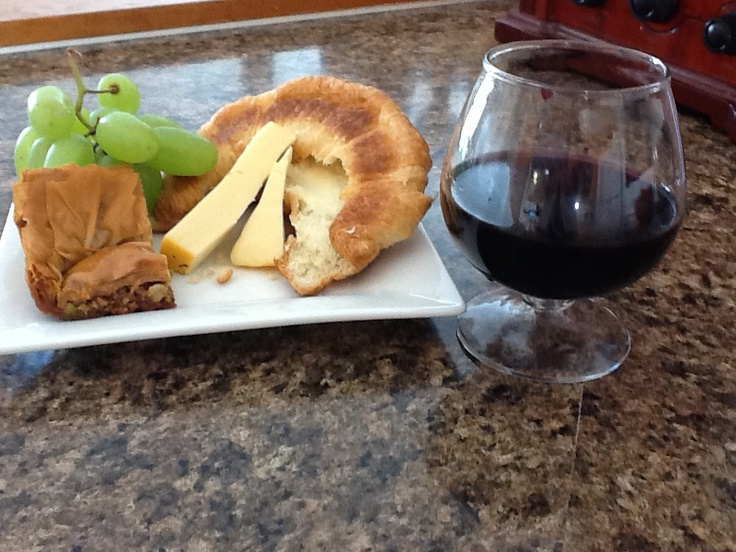 Italian red wine, French bread, New Bothwell cheese, and Greek baklava ...