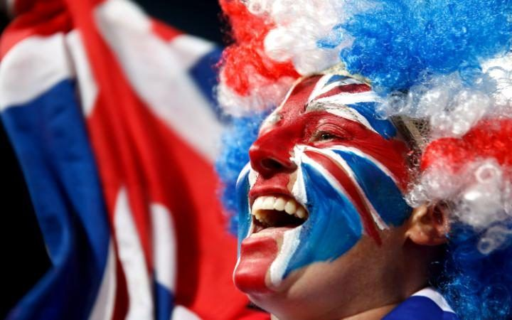 A Great Britain fan watches the gold medal match at the Olympic Hockey Centre on…