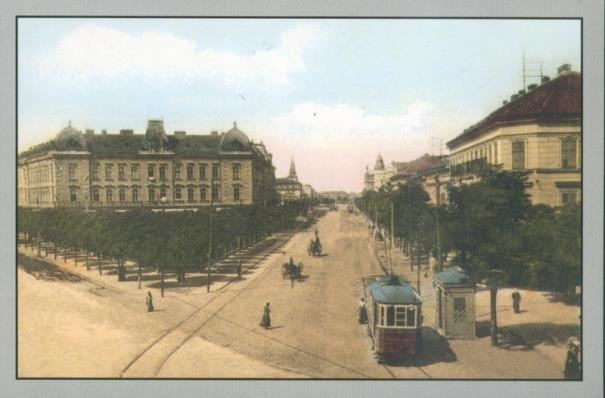 Timisoara - 1918 - Tramvaiul electric pe Bulevardul Tineretii (fost Carol I), la traversarea Pietei Stefan Furtuna, numita in trecut Piata Mocioni si Piata Kuttl
