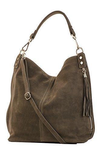 Oferta: 55.9€. Comprar Ofertas de Shopper bolso, bolso de hombro de mujer, Mod. 2108 ante, Italy, gris pardo oscuro barato. ¡Mira las ofertas!