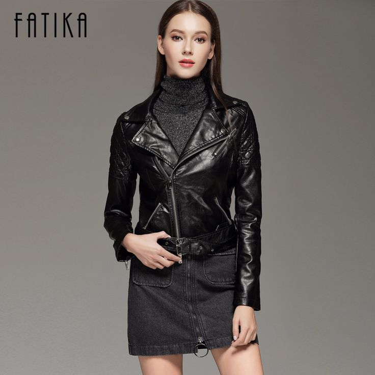 Cheap leather jacket zipper, Buy Quality women faux leather jacket directly from China faux leather jacket Suppliers: FATIKA 2017 New Fashion Autumn Winter Women Faux Leather Jackets Zipper Short Design Turn-Down Collar Motorcycle Outwear