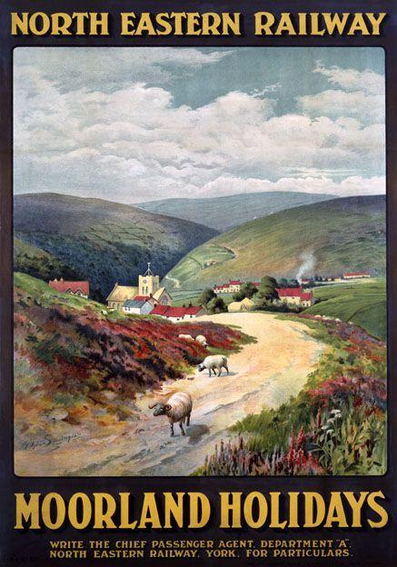 Urlaub in Moorland, Yorkshire. NER Vintage Travel Poster von J Symington # dur …
