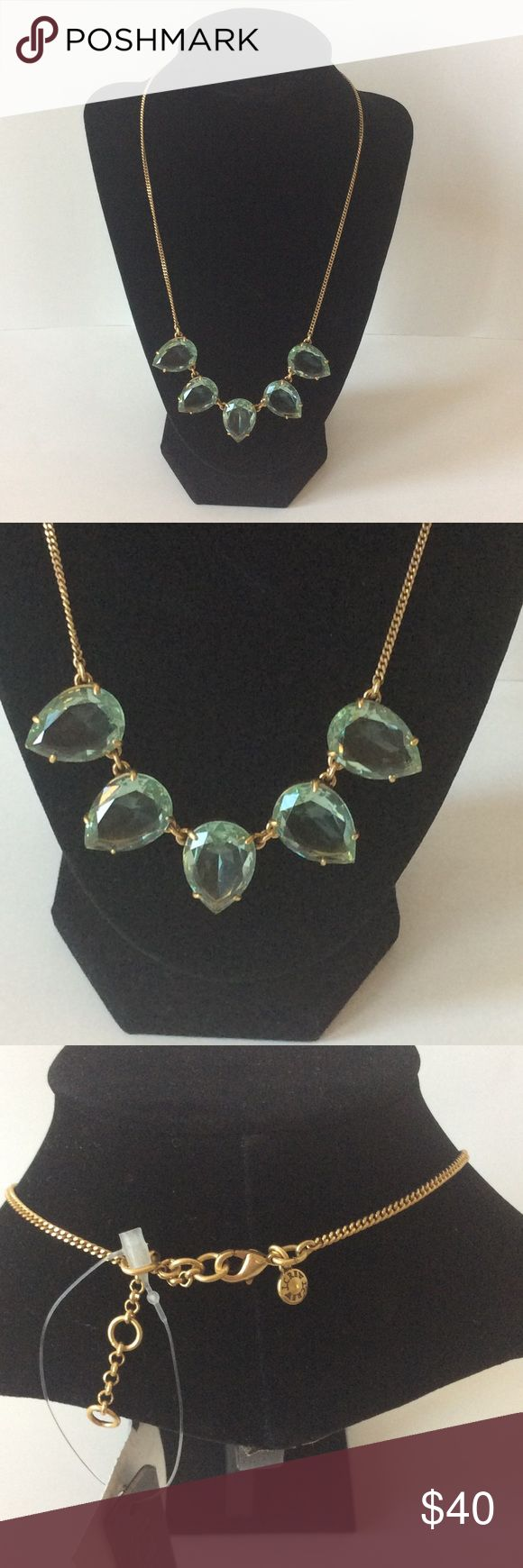 "J. Crew Teardrop Crystal Necklace J. Crew Teardrop Crystal Necklace. Gorgeous  polished crystal necklace in a blue green color. Brass chain and casting, epoxy stone, logo tag with cubic zirconia. Length is approx 19 1/2"" with 2 3/8"" extender chain for adjustable length. NWT, never worn. #633 J. Crew Jewelry Necklaces"