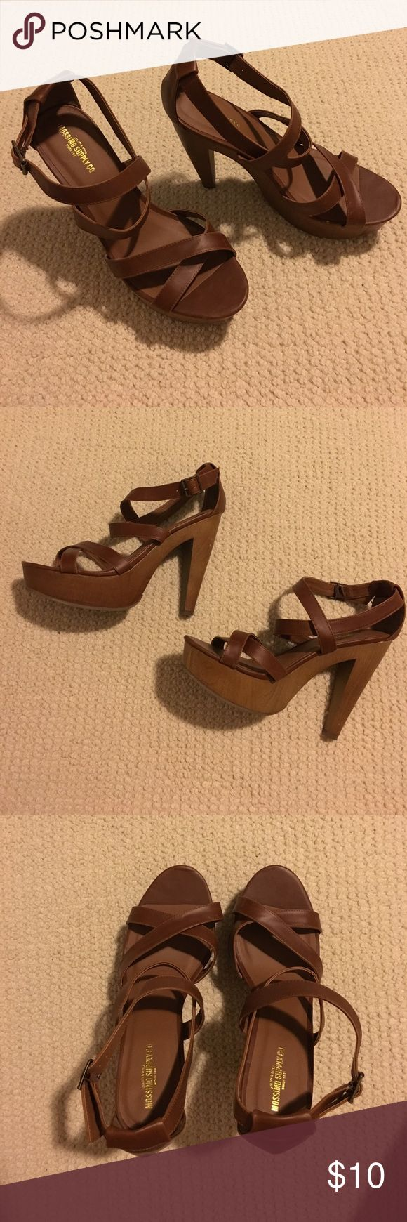 wood heels Target brown strappy heels Mossimo Supply Co. Shoes Heels