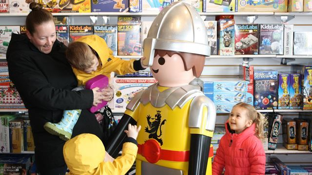 Giant Playmobil toy firefighter stolen, replaced with giant knight
