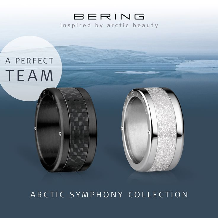 Arctic Symphony Collection; Rings for him and her; Women's and men's ring; A perfect team; BERING jewellery; Twist & Change system
