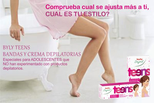 BYLY TEENS BANDAS Y CREMA DEPILATORIAS especiales para ADOLESCENTES QUE NO han experimentado con productos depilatorios.  http://sugoi.com.co/buscar?controller=search&orderby=position&orderway=desc&search_query=teens&submit_search=