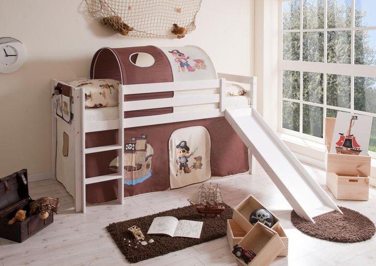 Ticaa Rutschbett Manuel Kiefer weiß Pirat braun-beige Jetzt bestellen unter: https://moebel.ladendirekt.de/kinderzimmer/betten/hochbetten/?uid=834b7877-a595-5c38-837d-36fd6ed51006&utm_source=pinterest&utm_medium=pin&utm_campaign=boards #möbel #kinderzimmer #einrichtung #hochbetten #baby #betten