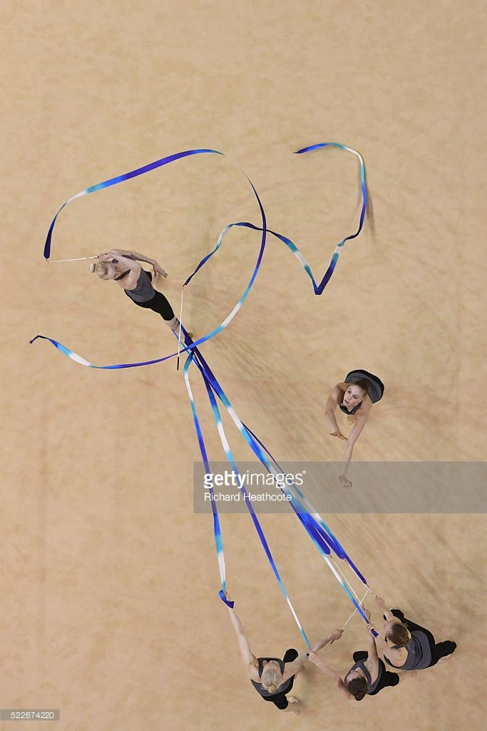 The Finland team take part in an open training session for the rhythmic gymnastics test event at the Rio Olympic Arena on April 20, 2016 in Rio de Janeiro, Brazil.
