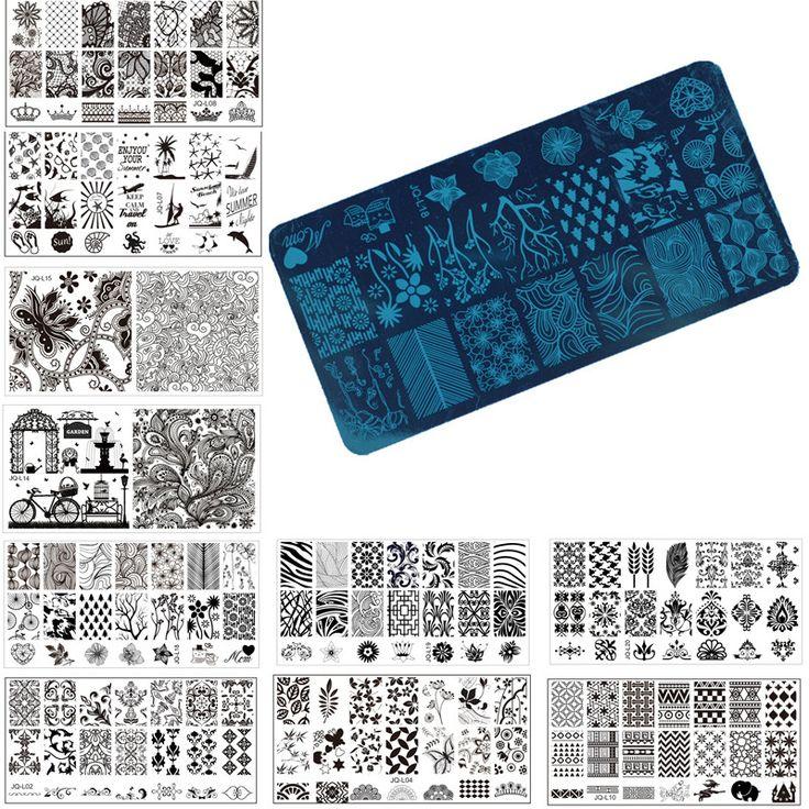 1 Unids Nail Art Sello Estampado de Placa de la Imagen 6*12 cm Plantilla Stencil Herramientas de Manicura de Uñas de Acero Inoxidable, 20 Estilos Para Elegir