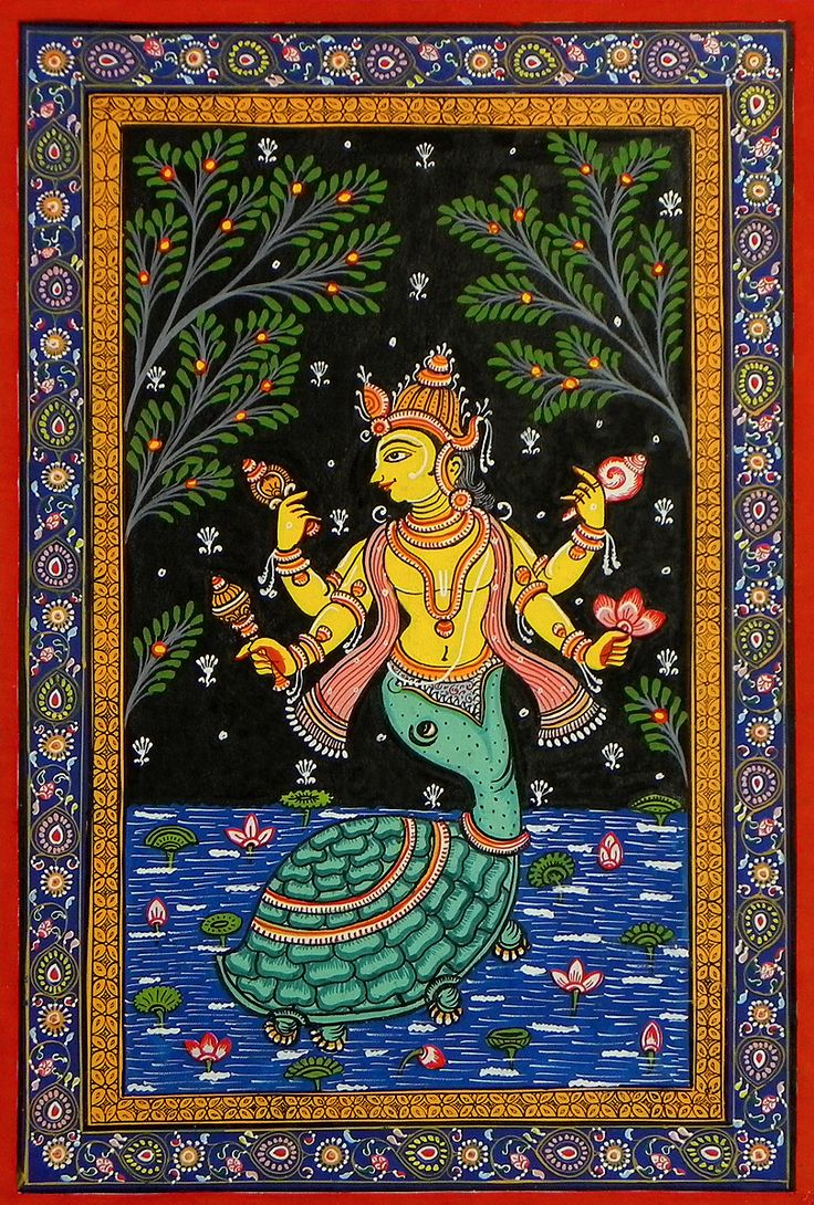 Kurma Avatar - Second Incarnation of Lord Vishnu (Orissa Pattachitra Painting on Patti - Unframed)