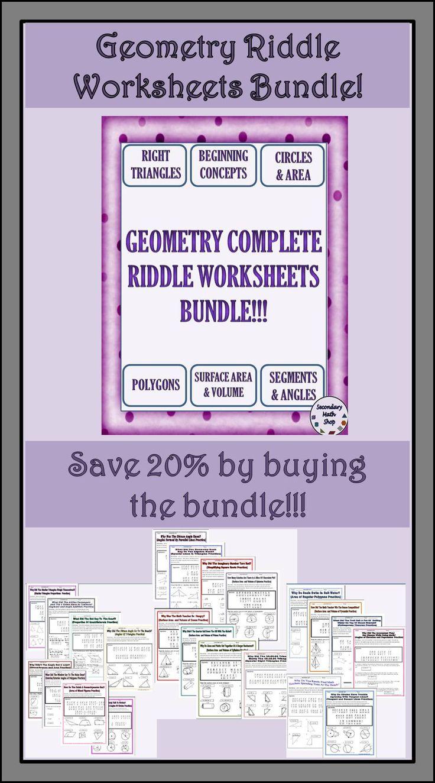 geometry riddle worksheets money saving bundle the o 39 jays geometry worksheets and money. Black Bedroom Furniture Sets. Home Design Ideas