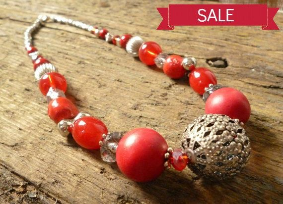 Red & 'Silver' bead Necklace red necklace red beads by reccabella  ATSocialMedia.co.uk #RePin