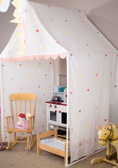 """A """"playing house"""" tent for a little girl's bedroom"""