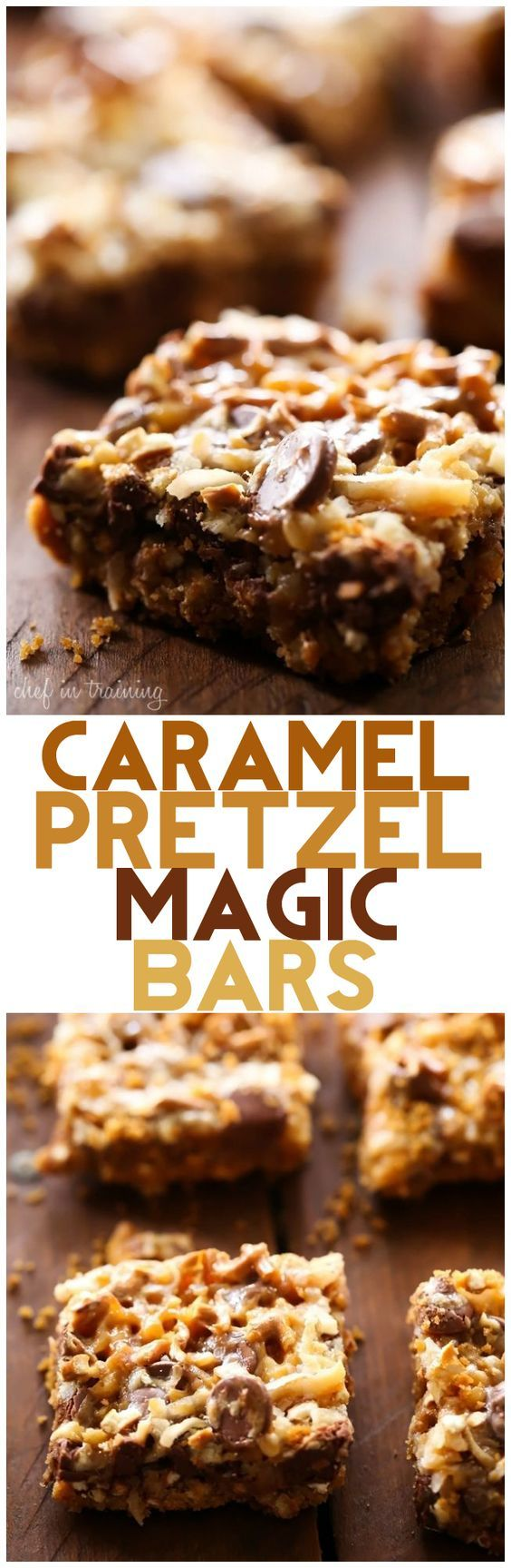 Caramel Pretzel Magic Bars... These are ooey gooey salty and sweet! The flavor and texture are amazing! The pretzel brings such a fun and exciting element to a classic recipe and the caramel addition is perfection!