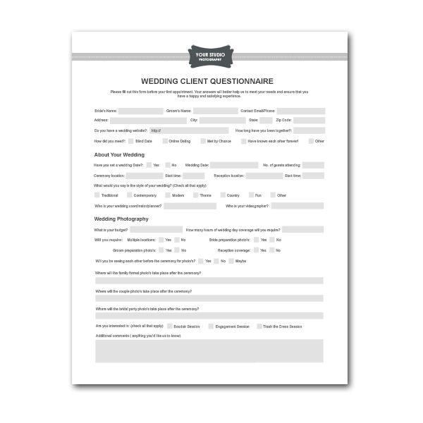 Printable Sample Wedding Photography Contract Template Form