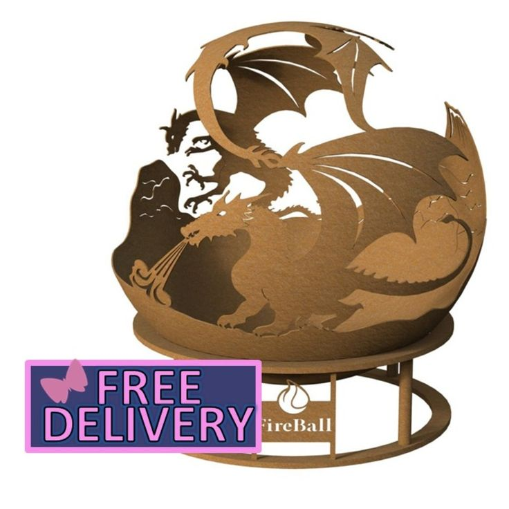 Dragon Fireball 600mm (60cm) Fire Pit with FREE Cover - Brundle Gardener