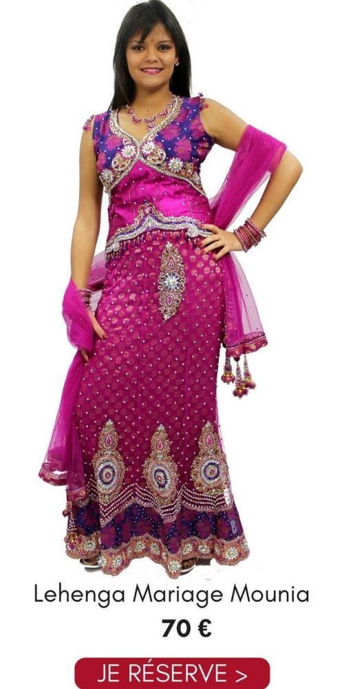 Location Lehenga Choli Mariage Mounia Rose et Violet Argenté Pas Cher 70€ Taille 38 Narkis Fashion, contactez au 06 61 05 36 39