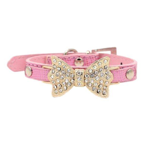 Stylish Golden Rhinestone Bow Decor PU Leather Adjustable Dog Collars #jewelry, #women, #men, #hats, #watches, #belts