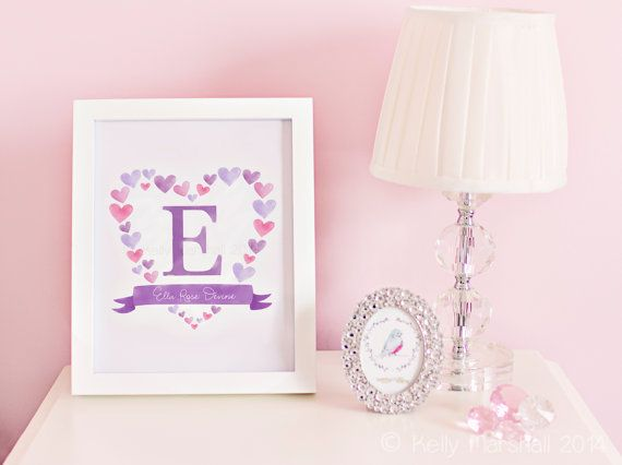 Personalized Name Print - Custom Name Sign - Monogrammed Gifts - Girl Name Wall Decal - Nursery Monogram Letters - Sweet Cheeks Images