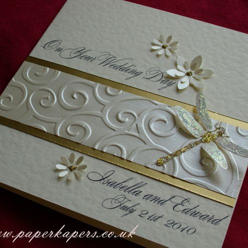 Personalised Dragonfly Wedding Card - Ivory, Pearl and Gold - Buy @Folksy | Craft Juice - via http://bit.ly/epinner