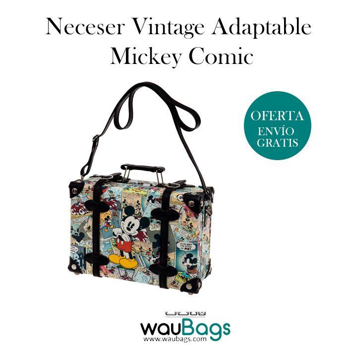 Consigue el Neceser Vintage adaptable Mickey Comic, ahora por tan solo 69,99€!!Tipo maletín, tiene un compartimento principal con 2 correas de cierre, cierre de seguridad en la parte superior, una cinta trasera para poderlo acoplar al tirador de la maleta, un asa superior para llevarlo cogido en la mano y un asa regulable para usar el neceser como bandolera. @waubags #disney #mickey #comic #neceser #vintage #adaptable #maleta #viaje #oferta #descuento #waubags