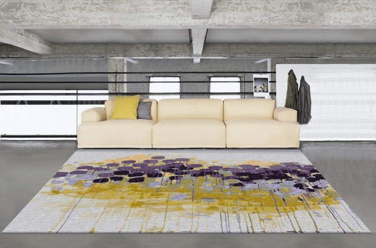 Modern floral wool rug