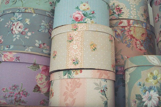 ~ vintage wallpaper covered hat boxes ~ just one filled with my most favorite craft supplies would make me very, very happy. :)