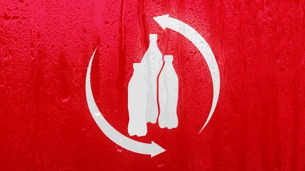 MVO. Op deze foto zie je drie flesjes met recycle pijlen eromheen. Coca Cola is duurzaam bezig door de flessen die zij gebruiken te recyclen en her te gebruiken.