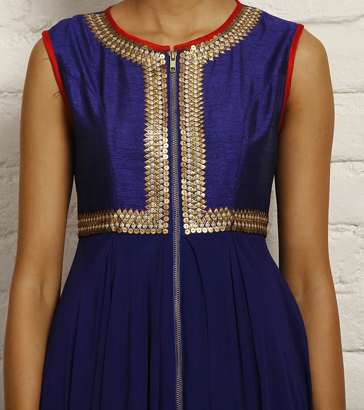 Blue Georgette and Dupion Silk Anarkali Set