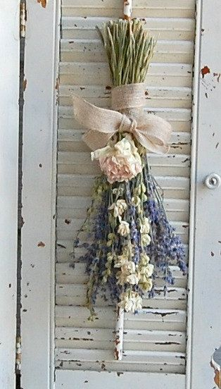 Dried Lavender  Bouquet with Dried Larkspur and by roseflower48. Love the combination of lavender and peonies! The peonies are freshly dried from my garden.