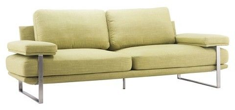 """ZM Home Mid-Century Modern Upholstered and Brushed Stainless Steel 86"""" Sofa"""