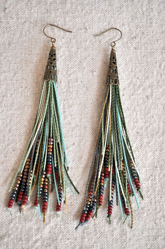 Feather Fringe Earrings Sage Green by AMiRAjewelry