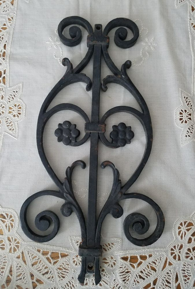 Vintage Architectural Salvage Wrought Iron Porch Fence Section Floral Scroll Architectural Salvage Fence Sections Iron Decor