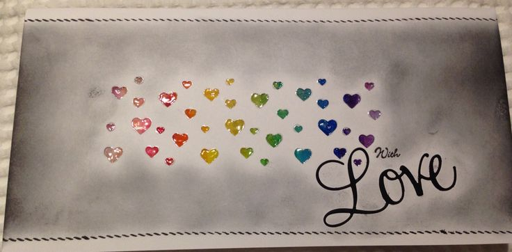 Black and white Rainbow love. Created using  Faber-Castell Gelatos, Distess Ink and Glossy Accents.