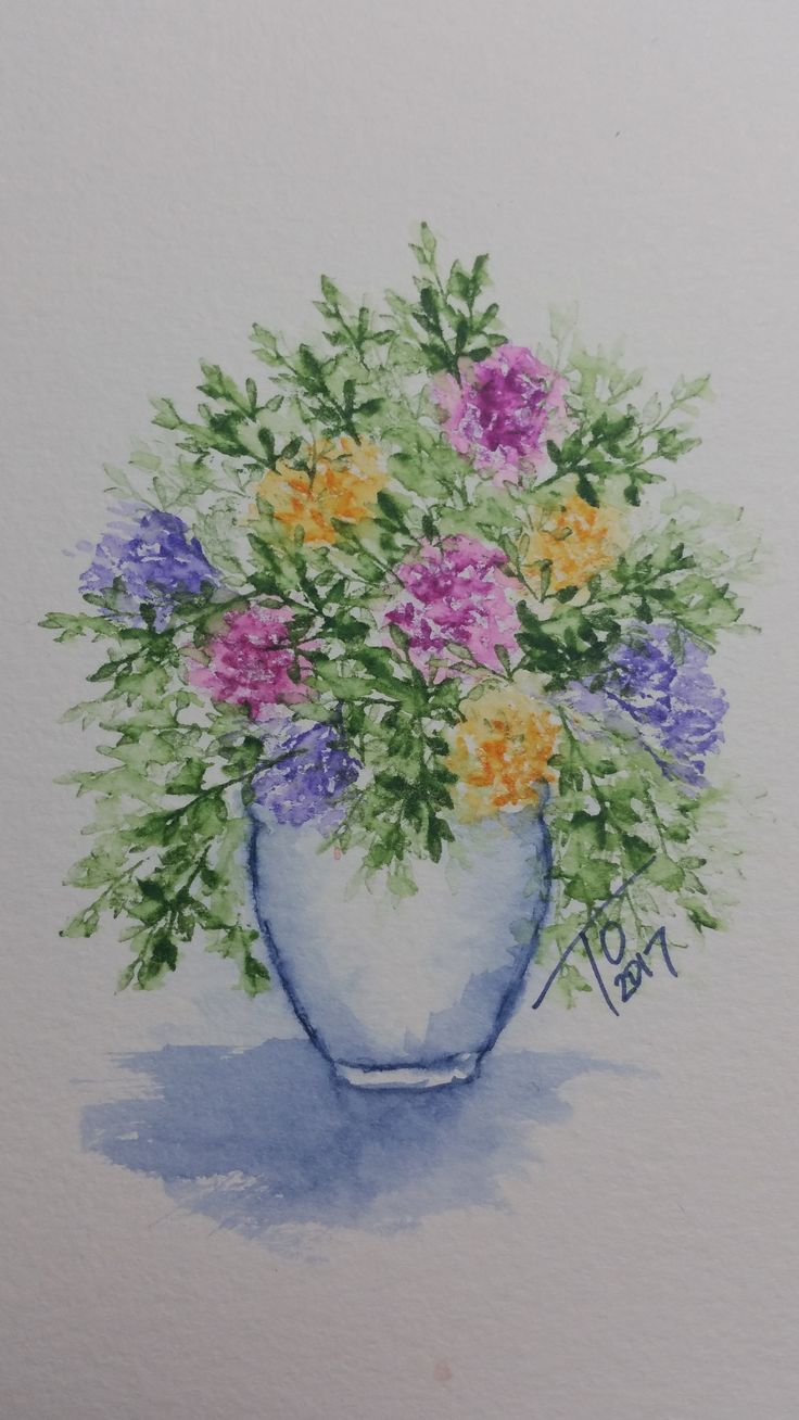 A Beautiful Watercolored Vase Of Flowers Created Using Art Impressions  Stamps Take A Look At