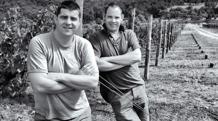 Mitch & Johnno in the Moonambel Vineyard.