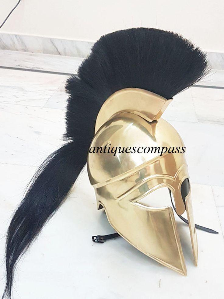 Medieval Knight Greek Corinthian Helmet Brass Antique W/Black Plume