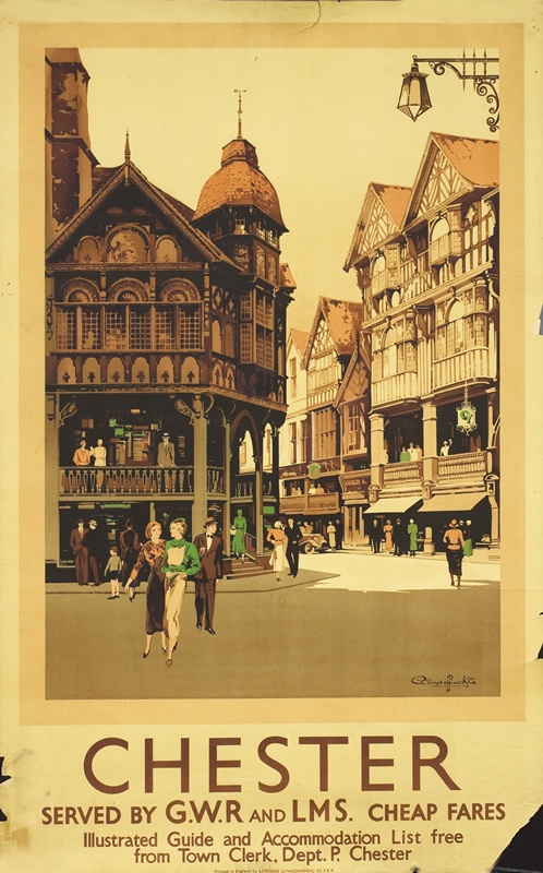 Train Travel Poster: Chester, England. 1930. Artist - Claude Buckle.