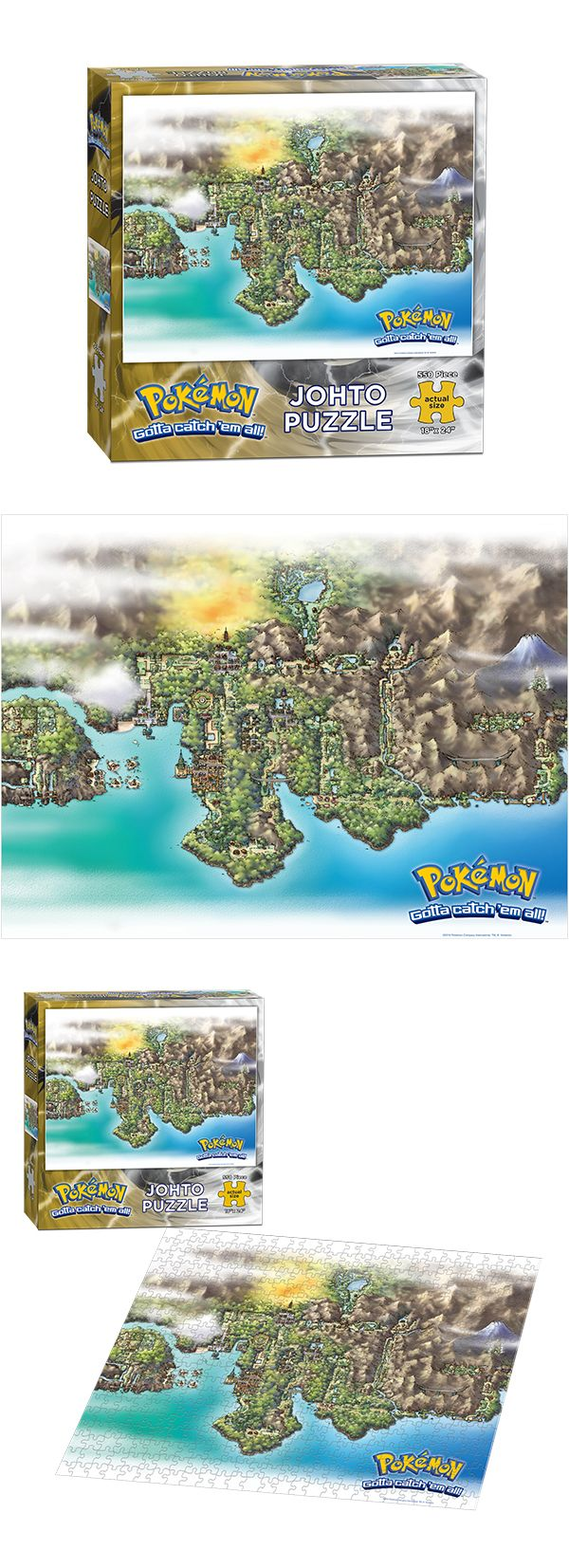 """Pokemon™ Johto Puzzle  Piece together a bit of the wonderful world of Pokémon. This 550-piece puzzle showcases a map of the Johto region.  550 Pieces   18"""" x 24"""" Finished Size   MSRP: $10.95  FOR SALE ONLY IN THE UNITED STATES AND CANADA."""