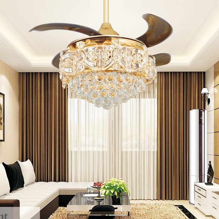 372.09$  Buy here - http://aiubt.worlditems.win/all/product.php?id=32726830186 - Modern LED Luxury Gold contemporary Folding Crystal Ceiling Fans With Lights Remote Control ventilador teto techo home fan Lamp
