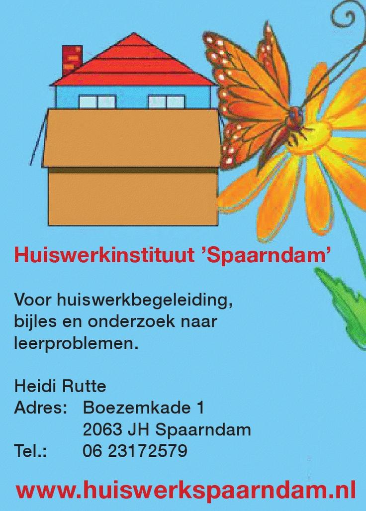 Voor huiswerkbegeleiding, bijles en onderzoek naar leerproblemen. Heidi Rutte, 0623172579, Huiswerkinstituut #Spaarndam