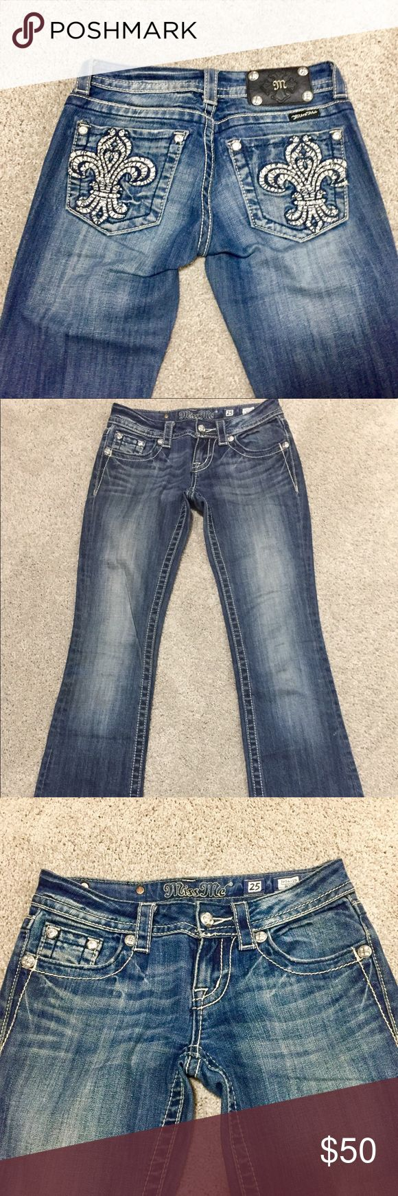 👖 Miss Me Jeans - Size 25 - GREAT Condition 👖 Great condition pair of Miss Me jeans, size 25, fits true to size. Medium wash. Some wear on the bottom where the bottom of the pants hit the floor (they are long) but any other marks on the jeans are small distress marks it came with. Comes from pet free and smoke free home Miss Me Pants Boot Cut & Flare